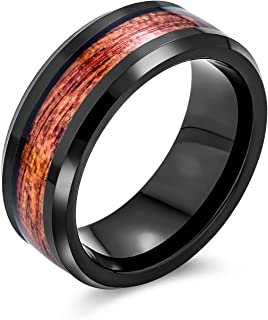 Bling Jewelry Koa Wood Inlay Black Silver Tone Titanium Couples Wedding Band Rings for Men for Women Wide Comfort Fit 8MM ...