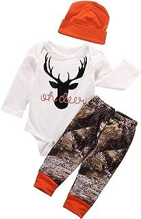 Newborn Baby Boy Girl Deer Romper Pants Leggings Hat 3pcs Outfits Set Costume