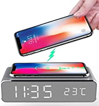 LED Smart Alarm Clock Time Temperature Display Wireless Charger Charging Pad Dock, Qi-Certified for iPhone 12,11, 11 Pro M...