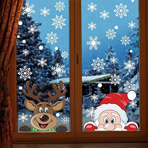 CCINEE クリスマス 静電ステッカー ウォールステッカー 窓ステッカー 雪 サンター クリスマスツリー トナカイ merry christmas (075)