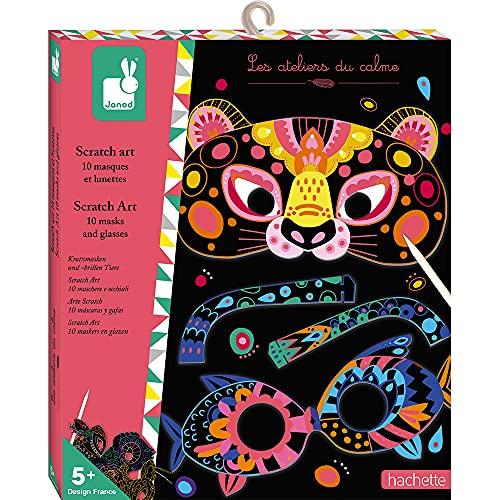 Janod Kratzbilder Tiermasken-Les Ateliers du Calme-Kreativ-Set für Kinder-Feinmotorik und Kreativität-Ab 5 Jahren, J07966