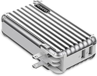 モバイルバッテリー 大容量 急速充電器 10000mAh ROMOSS 2ポート ACプラグ内蔵 スーツケース型 スマホ充電器 iPhone iPad Android対応 スペースグレー UP10