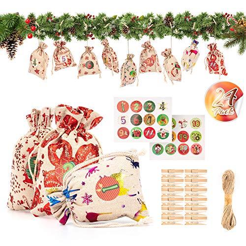 PGFUNNY Calendario Avvento Sacchetto Regalo di Natale Fai-da-Te-Sacchetto,24 Calendario Dell'avvento...