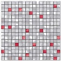 Es DECORキッチン タイル 壁 シート 耐熱 防水,タイルシート シール 洗面 タイルステッカー(5枚 赤)