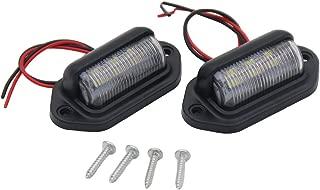 Eonstime 12V/24V 6 SMD LED License Plate Lamp Light for Truck SUV Trailer Van, Step Courtesy Lights, Dome/Cargo Lights or Under Hood Light 2pcs