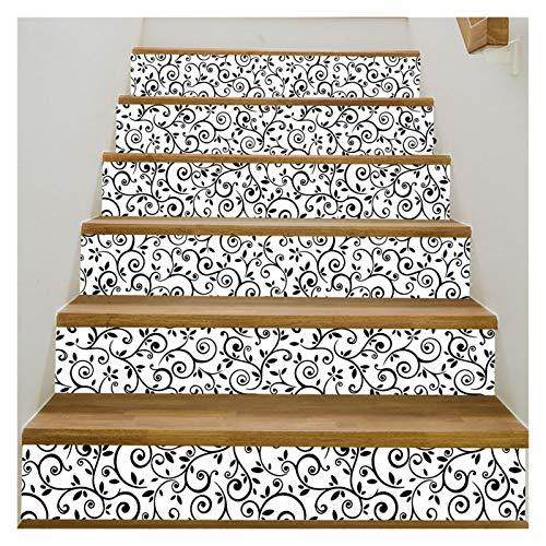 WENYOG Escaleras Pegatinas Pegatinas de Escalera de paisajes Calcomanía Paso de Cinta Pegatina Murales 6 unids Conjunto para Tienda Home Shop Cafe Bar Decor (Color : I)