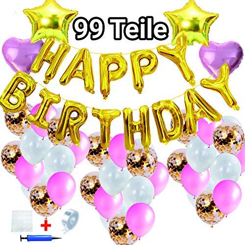 Folienballons Geburtstag, Luftballons rosa Happy Birthday Luftballons Banner Girlande Konfetti Luftballons gold Luftballons Helium Luftballons Rosegold Mädchen Geburtstag Geburtstagsdeko Mädchen
