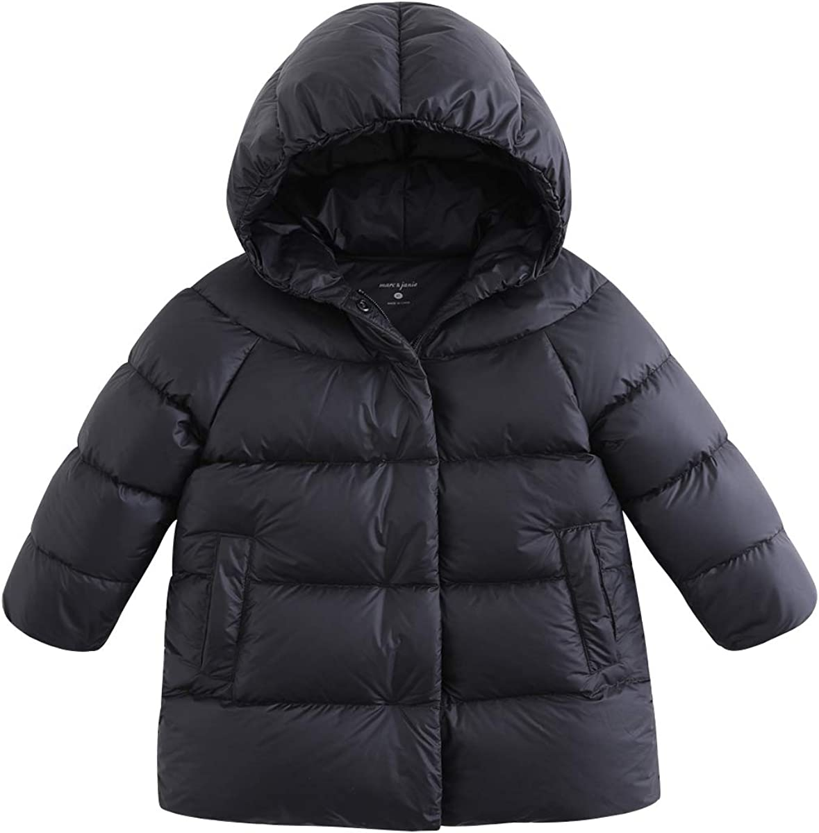marc janie Girls' Thick Mid-length Light Weight Removable Hood Down Puffer Jacket Kids Outerwear