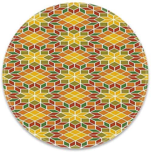 Runde Mausunterlage mit ethnischem Mosaik-marokkanischem Zellige Fliesen-mit Blumenmuster-traditioneller orientalischer Blumen-Motiv-Kunst Mehrfarbig