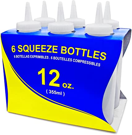 New Star Foodservice 26146 Squeeze Bottles, Plastic, 12 oz, Clear, Pack of 6