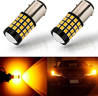 ANTLINE Newest 1157 LED Bulb Amber Yellow (2 Pack), 9-30V Super Bright 1600 Lumens 2057 2357 7528 BAY15D 52-SMD LED Lamps with Projector for Replacement, Work as Turn Signal Blinker Side Marker Lights