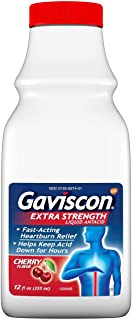 Gaviscon Extra Strength Cherry Liquid Antacid for Fast-Acting Heartburn Relief, 12 ounce (Pack of 2)