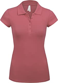 Women's Short Sleeve Dusty Pink Color 5 Buttons Slim Fit Polo Shirts(3000-DUSTY PINK-1X)