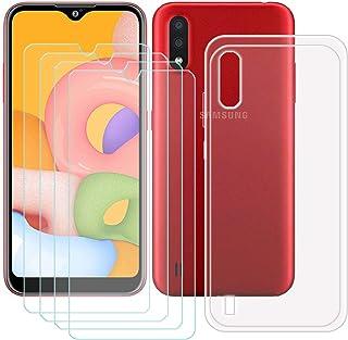 TTJ Transparent skal för Samsung Galaxy M01S [4 st] HD pansarglas, mobiltelefonfodral silikon skyddande fodral TPU fodral ...