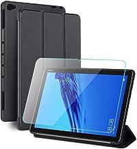 Oududianzi-Funda para Huawei Mediapad M5 Lite 10 + Protectore de Pantalla, Cubierta de Soporte Triple con Auto Estela del sueño,Forro de Microfibra + Cubierta Trasera de Silicona Suave -Negro