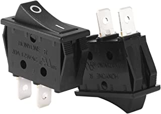 uxcell 10Pcs AC 20A/125V 22A/250V SPST 2 Terminal 2 Position Boat Rocker Switches Black On-Off