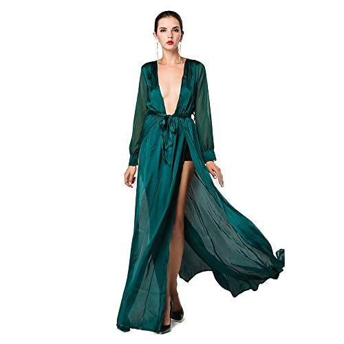 ac527c1d1633c Missord Women's Deep V Long Sleeve Slim Split Maxi Dress with Belt Large  Green