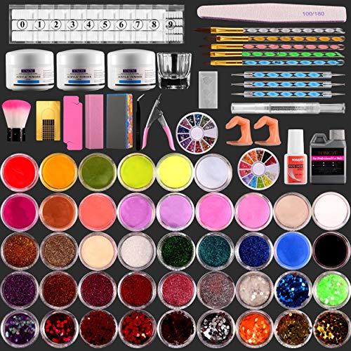 82 in 1 Acrylic liquid and powder Nail Kit,Professional Acrylic Nail Brush, 3 Colors Pink White Clear Nail Powder Kit