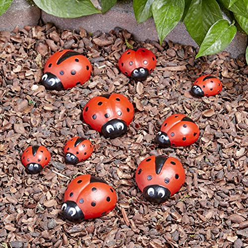 The Lakeside Collection Ladybug Garden Stones - Decorative Outdoor Ornaments - Set of Nine
