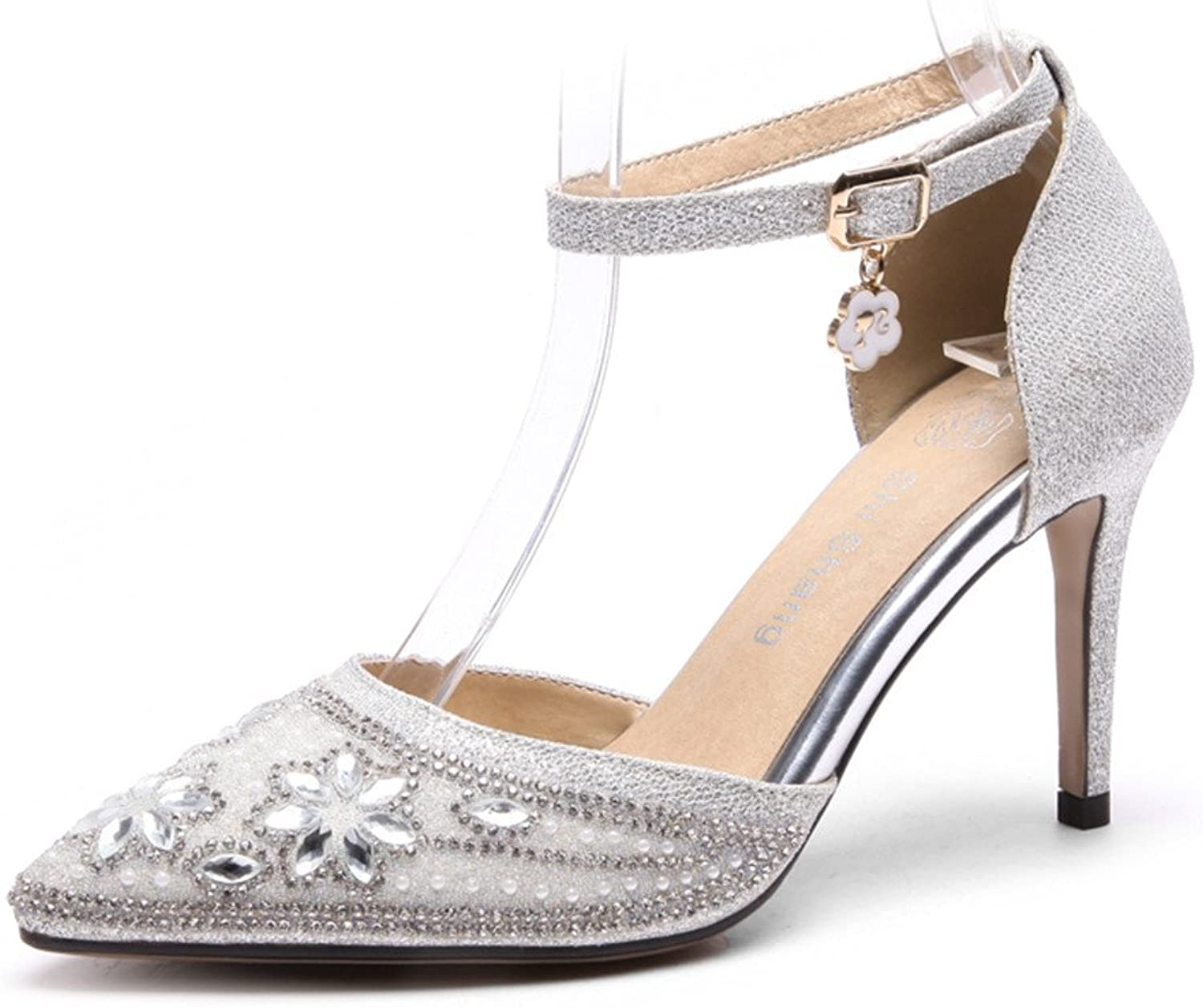 AnMengXinLing Ankle Strap Pumps Womens Rhinestone Crystals Pointed Toe Stiletto Bridal Wedding Luxury D'Orsay shoes