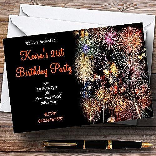 clásico atemporal naranja Fireworks personalizado personalizado personalizado invitaciones de fiesta  tienda de ventas outlet