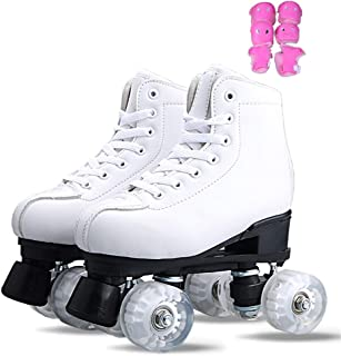Premium Leather Lined Rink Artistic Roller Skate,Classic White Quad Skates for Indoor And Outdoor,B,38