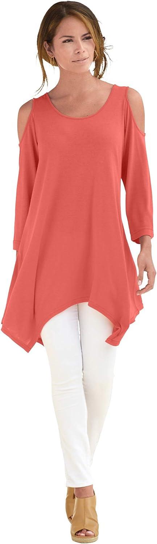 Roaman's Women's Plus Size Linen-Blend Ultra Femme Tunic Long Shirt