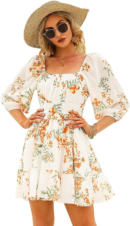 Vintage Style Dresses | Vintage Inspired Dresses EXLURA Womens Lantern Sleeve Tie Back Dress Ruffled Off Shoulder A-Line Vintage Mini Dress  AT vintagedancer.com