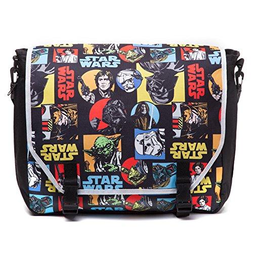 Star Wars–Bolso bandolera con un diseño fresco estilo de cómic Dimensiones: 44cm x 33cm Características principales compartimiento de almacenamiento, correa acolchada ajustable y bolsillos de almacenamiento adicionales Diseño de alta calidad y ma...
