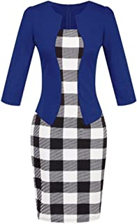 Conina Clearance!Dress for Women Colorblock Plaid Wear to Work Business Party Bodycon One-Piece Sash Dress