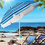 Aoxun Beach Umbrella, 7ft UV 50+ Umbrella with Sand Anchor & Tilt Aluminum Pole, Portable Beach Umbrella with Carry Bag for Beach Patio Garden Outdoor, Blue White Stripe【2021 Upgraded Food Plate】