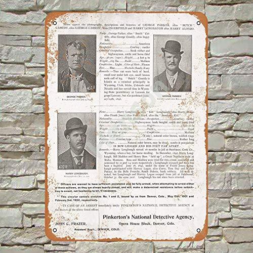 1904 Pinkerton's Wanted Poster for Butch Cassidy and Sundance Kid 2 Blechschild Metall Plakat Warnschild Retro Eisenblech Plakette Jahrgang Poster Schlafzimmer Familie Wand Aluminium Kunstdekor