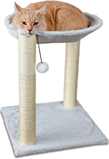 Mumoo Bear Cat Tree and Scratcher- Two Sisal Scratching Posts, Hammock Style Lounging Bed and Interactive Hanging Toy for ...