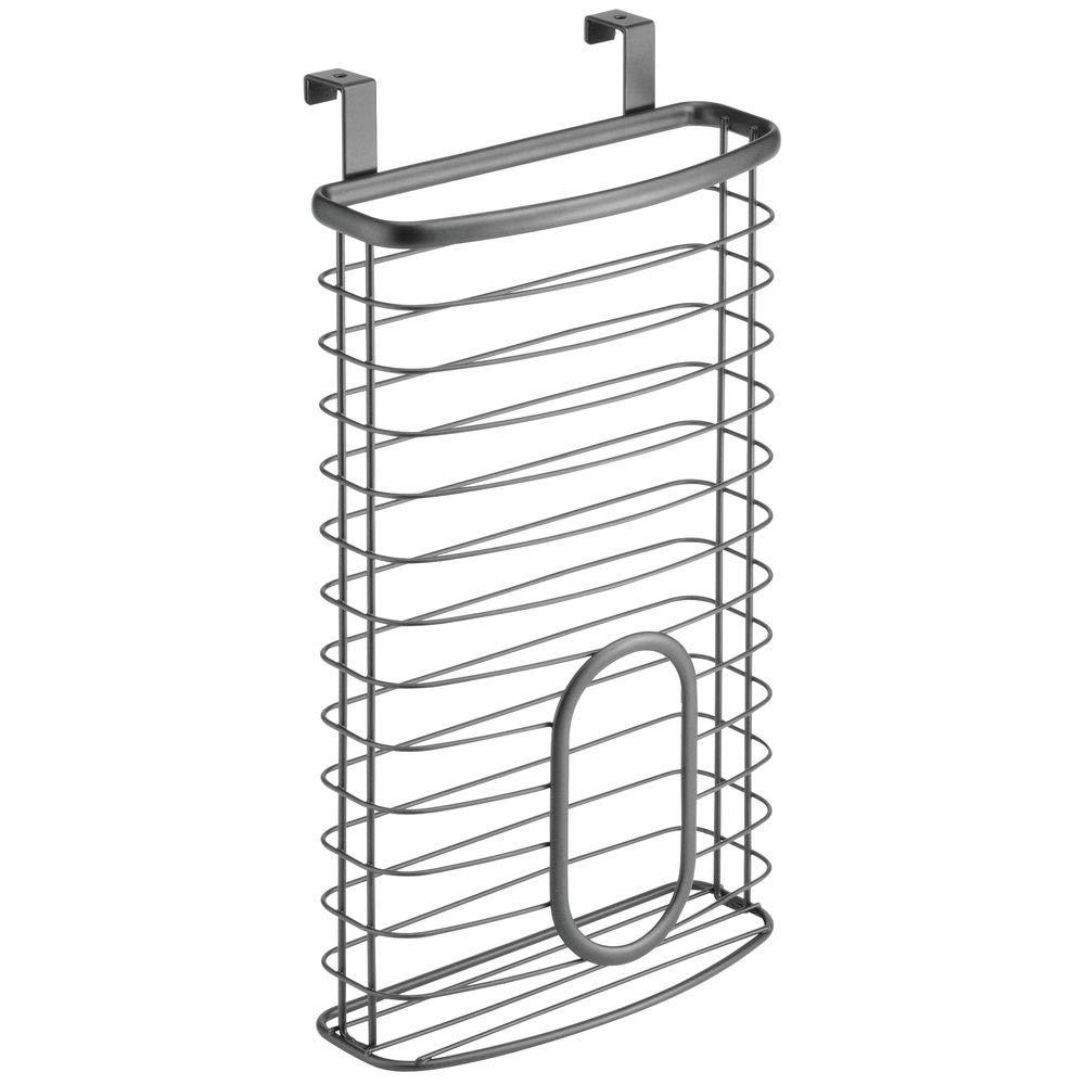 gris Pr/áctico dispensador de bolsas colgante para bolsas de congelador y de residuos mDesign Organizador de bolsas pl/ásticas para colgar en la puerta Caja organizadora para cocina en metal