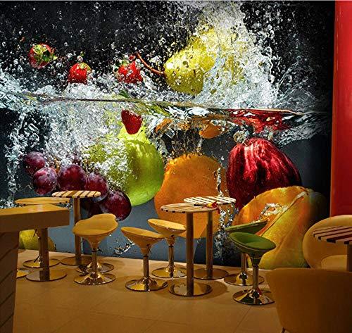 Suwhao Fotobehang voor op de muur, 3D-fruit, grote muurschildering, café, sap, dranken, winkel, restaurant, woonkamer, achtergrond 200x140cm