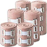 Elastic Bandage Wrap Multi Purpose: 6 Compression Wraps of 3 Different Sizes Very Easy to Use with Hook & Loop Closure. Latex-Free, Stretches up to 15ft & Includes Extra Clips