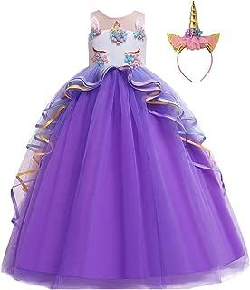 HIHCBF Girls Unicorn Costume Pageant Princess Party Dress Wedding Birthday Christmas Carnival Long Maxi Gown w/Headband