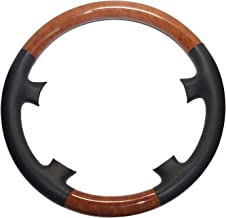 Pursuestar Black Leather Light Brown Wood Steering Wheel Cover Protector for 1998-2005 Benz W220 S Class S280 S320 S430 S500 S600 W215 C215 CL Class CL500 CL600