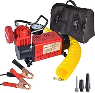 GSPSCN Portable Air Compressor, 150PSI Red Tire Inflator, Heavy Duty 12V Air Pump,for Car, Truck, RV, ATV, Lawn Mower and Other Inflatables