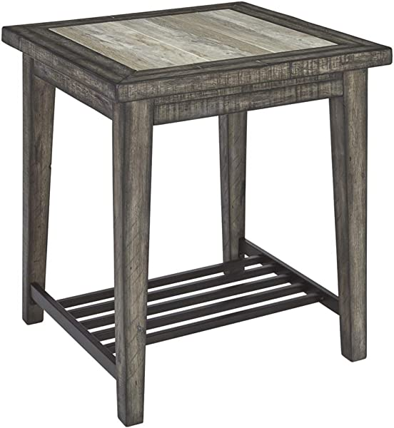 Signature Design By Ashley T728 2 Mavenry End Table Ceramic Top Grayish Brown