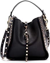 Yoome Women Cowhide Leather Bucket Bag Punk Purse Crossbody Rivets Clutch Shoulder Handbags