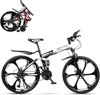 Folding Adult Bike, 24 Inch Dual Shock Absorption Off-Road Racing, 21/24/27/30 Speed Optional, Lockable U-Shaped Front For...
