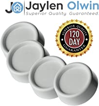 JAYLEN OLWIN White Anti-Vibration and Anti-Walk Washer and Dryer Rubber Pads - Non-Marking One Size Fits All Anti-Vibration Washer and Dryer Appliance Feet - Set of 4 - White