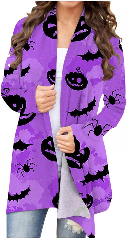 UOCUFY Halloween Cardigan for Women, Halloween Pumpkin Open Front Cat Cardigan Long Sleeve Sweatshirt Cute Funny Coat