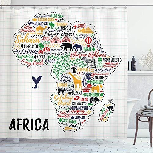 remmber me Decir Letras Coloridas de países en el Continente con Animales Lámina Decoración para el hogar Tela Cortina de Ducha Baño Poliéster Cortina de baño con 12 Ganchos