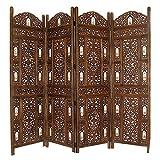 Benzara Handcrafted Wooden 4 Panel Room Divider Screen with Tiny Bells - Reversible, Antique Brown