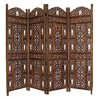 Benzara Handcrafted Wooden 4 Panel Room Divider Screen with Tiny Bells - Reversible Antique Brown