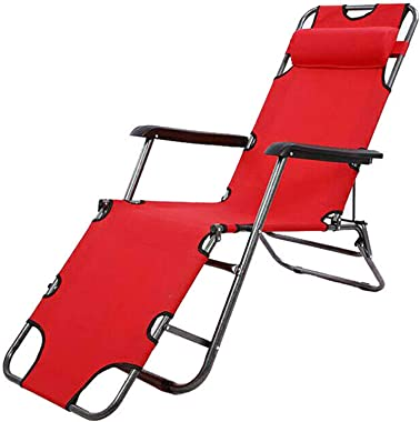 labworkauto Portable Lounge Chairs Folding Reclining Chairs Sun Patio Chaise Chair Pool Lawn (Red)