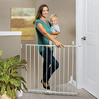 """North States 40.55"""" Wide Essential Stairway & Walkway Baby Gate: Ideal for Standard stairways. Sturdy Metal with Swing Control Hinge. Hardware Mount. Fits Openings 24.5""""-40.55"""" Wide (30"""" Tall, White)"""