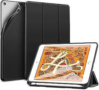 ESR iPad mini 5 ケース 2019 モデル ペンホルダー 付き スマート カバー 軽量 薄型 ソフト TPU 耐衝撃 傷防止 三つ折りスタンド オートスリープ 機能 Apple Pencil 収納ケース 2019発売のiPad Mini5(第五世代) に対応 (ブラック)